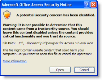 Microsoft Access Potential Security Concern Warning