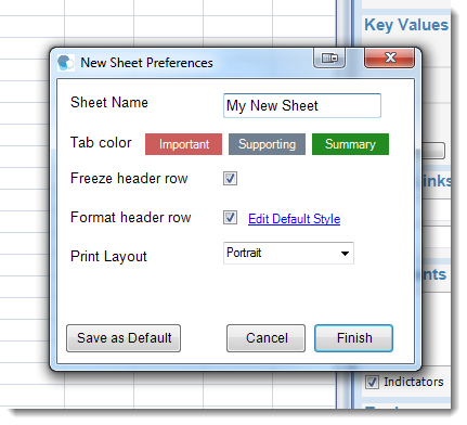 New sheet preferences prompt for Microsoft Excel