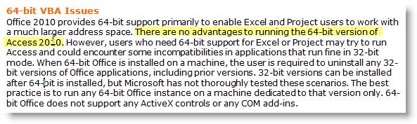 Microsoft Access 2010 64-Bit Edition