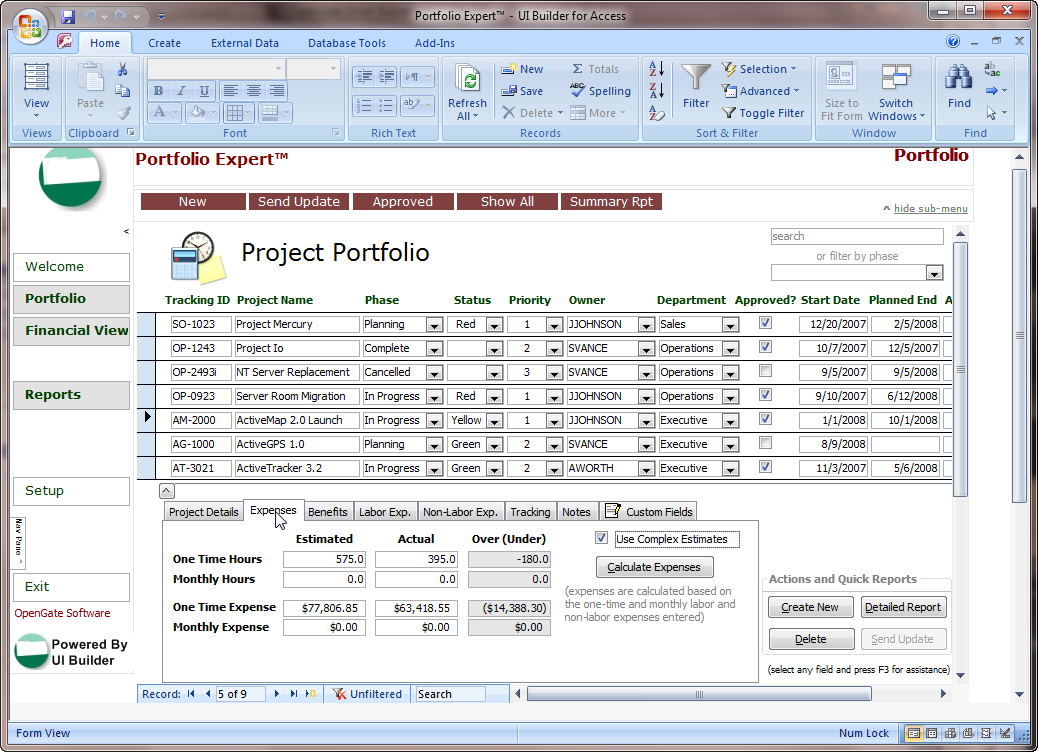 Microsoft access projects template opengate software inc for Microsoft access 2003 templates