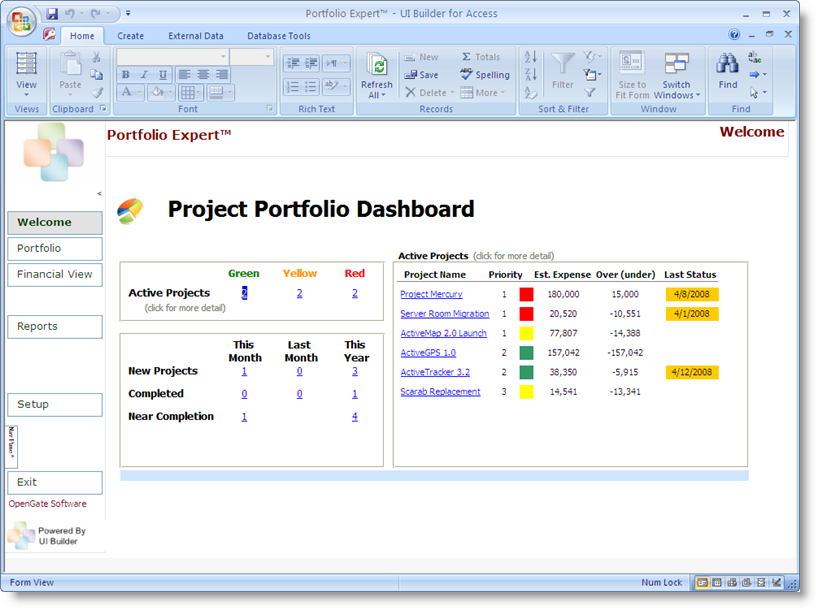 project portfolio management access template