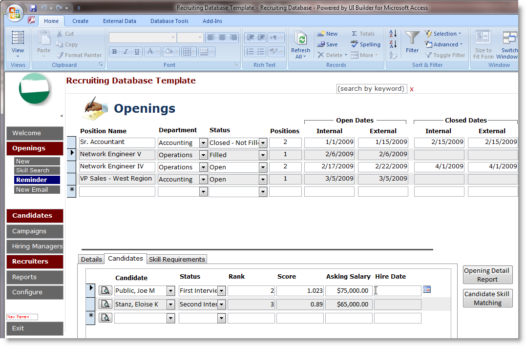 Microsoft Access Employee Recruiting Template | OpenGate Software Inc