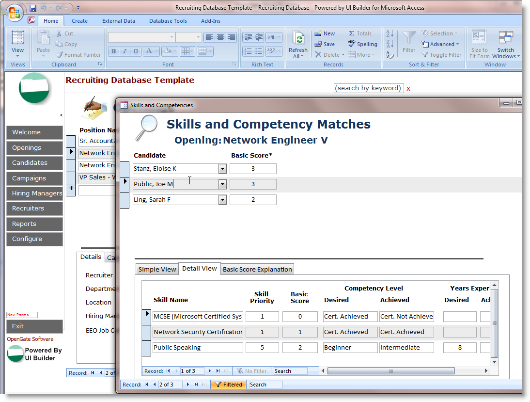 Microsoft Access Employee Recruiting Template – Skills Inventory Template