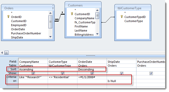 Working with the Microsoft Access Query Designer | OpenGate