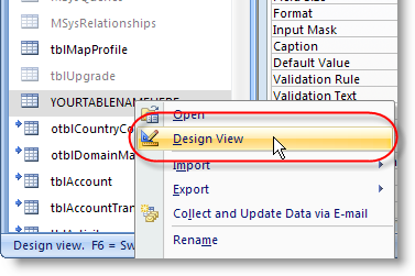 Microsoft Access Table Design View